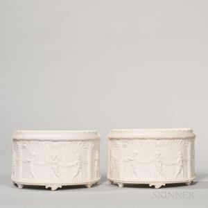 Pair of Wedgwood & Bentley Solid White Jasper Bough Pots