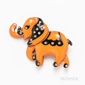 Bakelite and Rhinestone Elephant Brooch