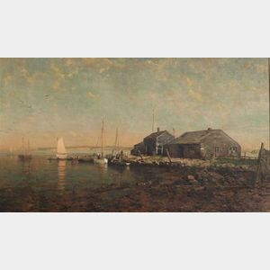 George H. McCord (American, 1848-1909)  Coastal Scene with Boat Houses and Sailboats.