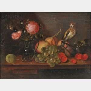 Alexander Adriaenssen (Flemish, 1587-1661)      Still Life with Flowers, Fruit, and Bird