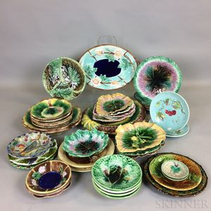 Approximately Forty-one Majolica Ceramic Dishes.