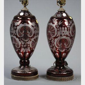 Pair of Bohemian Ruby Flash Lamps