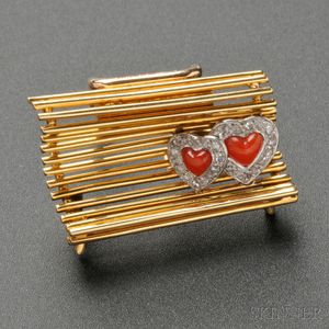 18kt Gold, Coral, and Diamond Figural Brooch, Cartier