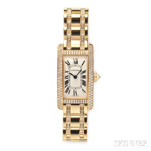 "Lady's 18kt Gold and Diamond ""Tank Americaine"" Wristwatch, Cartier"