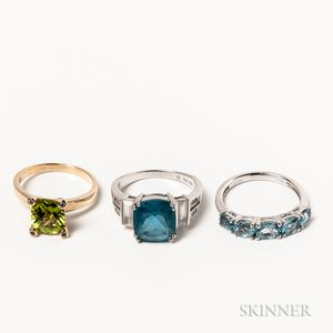 Three Gold Gem-set Rings