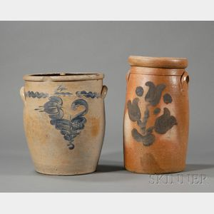Stoneware Churn and Crock with Cobalt Floral Decoration