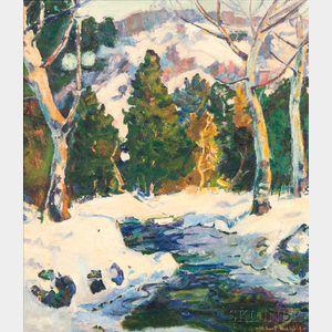 Hobart Nichols (American, 1897-1955)       Winter Brook Scene.