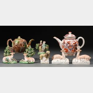 Eight English Ceramic Items including Staffordshire Figures