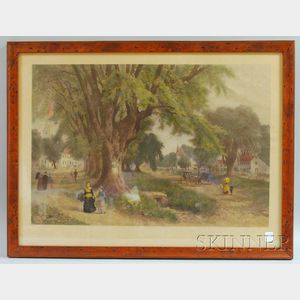 Framed Hand-colored Engraving The Village Elms: Sunday Morning in New   England