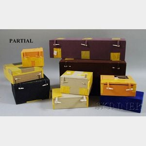 Nineteen Assorted Asian Cloth-covered Boxes with Fitted Interiors.
