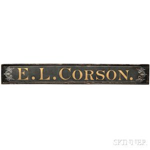 """Large Painted """"E.L. CORSON"""" Trade Sign"""