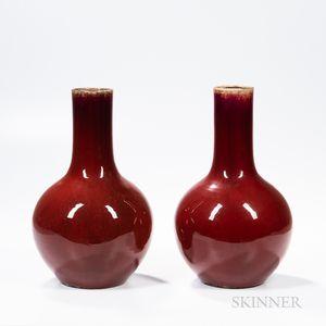 Pair of Flambe-glazed Vases