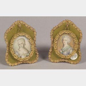 Pair of Framed Portrait Miniatures on Ivory of Eighteenth Century Ladies