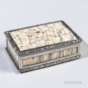 Silver-mounted Mastodon Tooth Snuff Box
