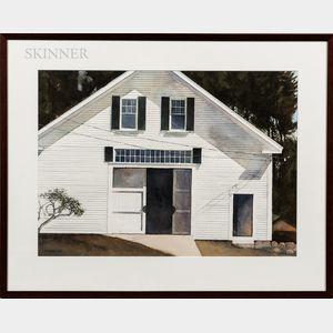 Robert Larsen (American, 20th Century)      White Barn, Tamworth, NH