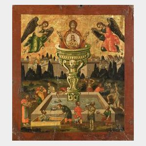 Continental School,  20th Century  Virgin and Child with Angels at the Fountain of Life/An Icon