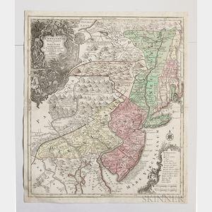 Pennsylvania, New Jersey, and New York. Tobias Conrad Lotter (1717-1777) Pensylvania Nova Jersey et Nova York cum Regionibus ad Fluvium