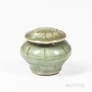 Miniature Celadon-glazed Stoneware Covered Jar
