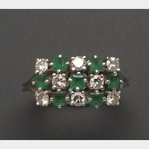 18kt White Gold Emerald and Diamond Ring