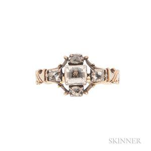 Gold, White Enamel, Crystal, and Diamond Memento Mori Ring