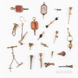Twenty Gilt and Silvered Stone-set Watch Keys