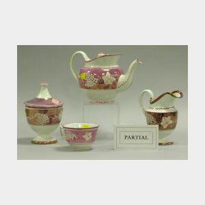 Seven Pieces of Pink Lustre Ceramics.