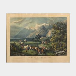 Currier & Ives, publishers (American, 1857-1907)  THE ROCKY MOUNTAINS.  EMIGRANTS CROSSING THE PLAINS.