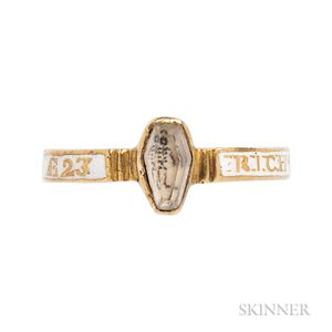 Rare Gold, White Enamel, and Crystal Memento Mori Ring