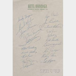 Autographed Major League Baseball Stars Hotel Stationery