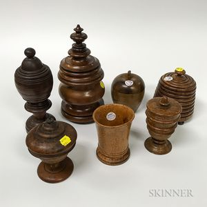 Seven Turned Treen Items