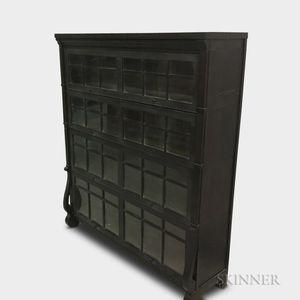 Empire-style Glazed Mahogany Veneer Four-tier Barrister Bookcase