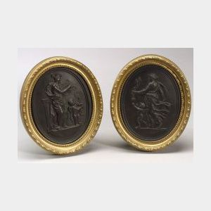 Pair of Wedgwood Black Basalt Self-framed Plaques