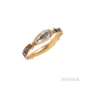 Rare Gold, Black Enamel, and Crystal Memento Mori Ring