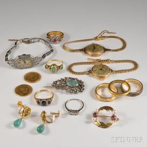 Group of Mostly 18kt Gold Jewelry