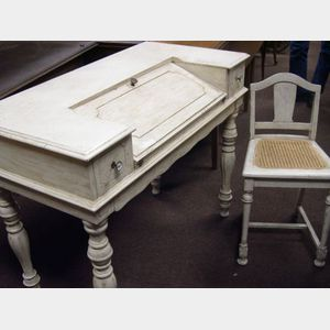 White Painted Victorian Spinet Writing Desk with Chair.