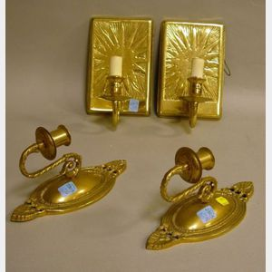 Two Pairs of Brass Single-Light Wall Sconces