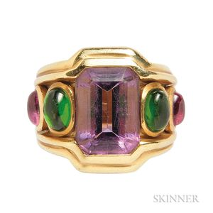 18kt Gold, Amethyst, and Tourmaline Ring, Seidengang