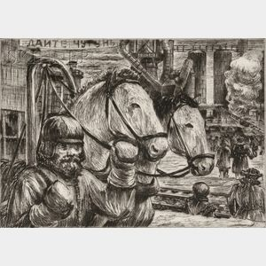 Niels Yde Andersen (Danish/American, 1888-1952)      Lot of Four Genre Scenes: Horse Power and Industry