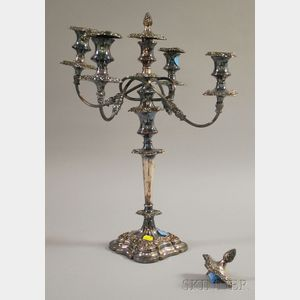 Silver Plated Five-Light Weighted Candelabra