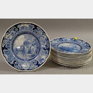 Set of Twelve Wedgwood Blue and White Columbia University Ceramic Dinner Plates.