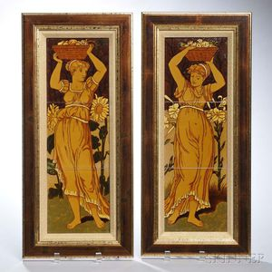Pair of Aesthetic Majolica Tile Pictures