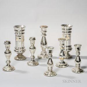 Eight Pieces of Mercury Glass