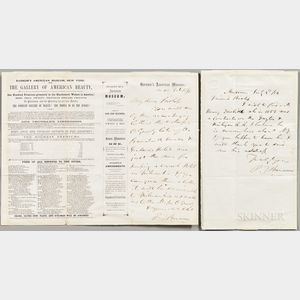 Barnum, Phineas T. (1810-1891) Two Autograph Letters Signed, 1856.