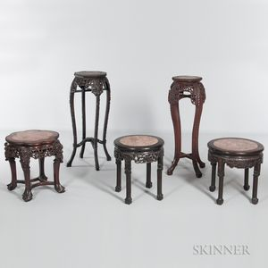 Five Carved Marble-top Stands