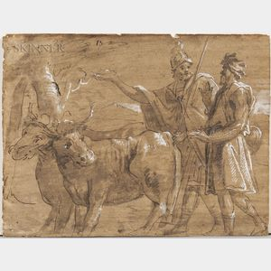 Continental School, 17th Century      Roman Soldier with Herder and Pair of Oxen, Possibly Cincinnatus Called from the Plow
