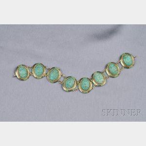 Art Deco 14kt Gold, Amazonite, and Enamel Bracelet