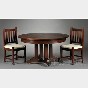 Roycroft Arts & Crafts Dining Table and Six Chairs