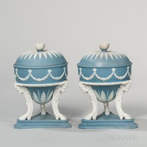 Pair of Wedgwood Solid Blue Jasper Tripod Urns and Covers