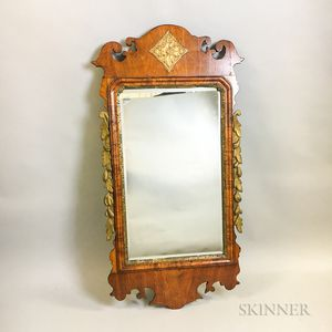 Chippendale-style Carved and Parcel-gilt Mahogany Scroll-frame Mirror
