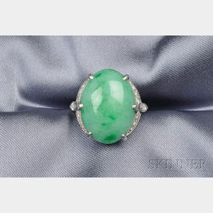 Platinum, Jadeite and Diamond Ring